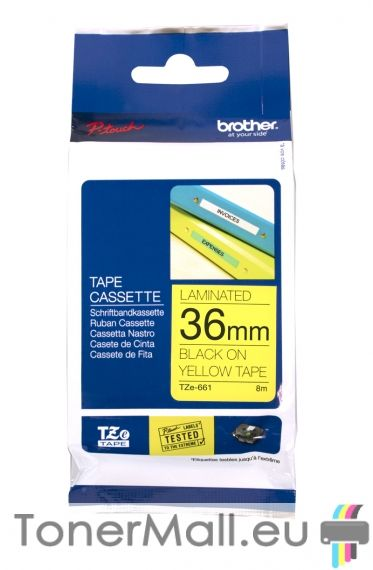 Tape Black on Yellow Brother TZ-661