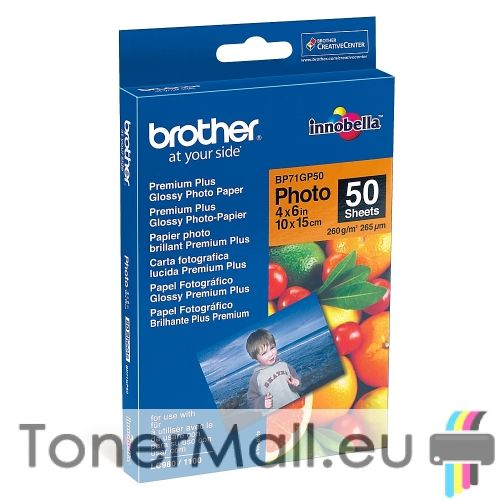 """Brother BP71GP50 Premium Plus Glossy Photo Paper, A6 (4x6""""), 50 Sheets"""