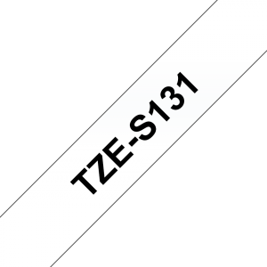 Tape Black on Clear Brother TZe-S131